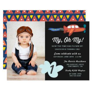 私のOh私の|の飛行機の写真の誕生会の招待 カード