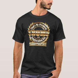 私のTrump大統領の就任式日2017の黒いティー Tシャツ