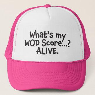 私のWODのスコアは何ですか。 生きた。 黒いトラック運転手の帽子 キャップ