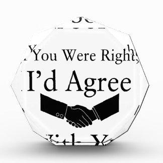 私はあなたと正しかったら残念、私一致しますです。 表彰盾