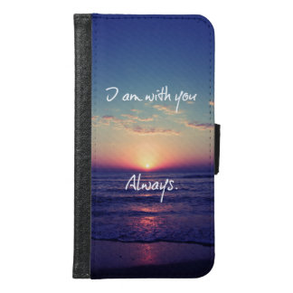 私はあなたと海の日没の聖書の詩常にです GALAXY S6 ウォレットケース