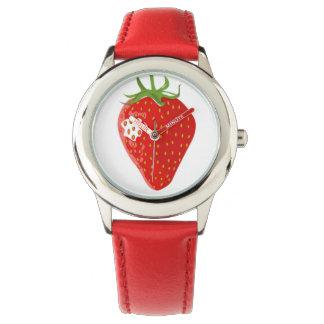 私はいちごを愛します! 子供の調節バンドの腕時計 腕時計