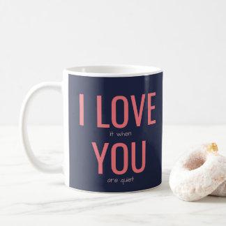私はおもしろいな人間関係の皮肉のユーモアの引用文愛します コーヒーマグカップ