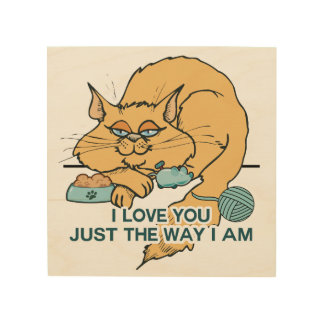 私はおもしろいな猫の写実的な発言愛します ウッドウォールアート