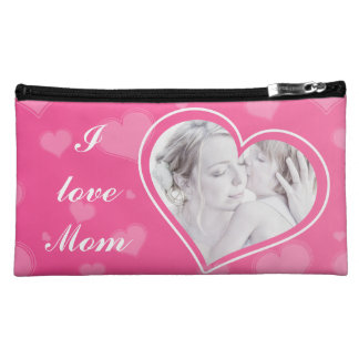 私はお母さんのカスタムな写真のピンクのスエードの化粧品のバッグを愛します コスメティックバッグ