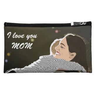 私はお母さんのスエードの化粧品のバッグ愛します コスメティックバッグ