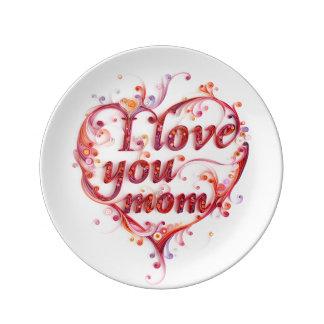 私はお母さんのプレート愛します 磁器プレート