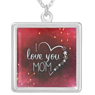 私はお母さんの母の日のネックレス愛します シルバープレートネックレス