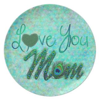 私はお母さんの華美な文字の誕生日のプレート愛します プレート