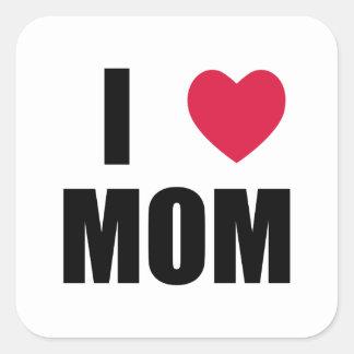 私はお母さん-赤いハート-を黒い文字愛します スクエアシール