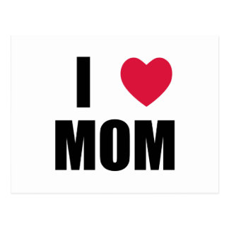私はお母さん-赤いハート-を黒い文字愛します ポストカード