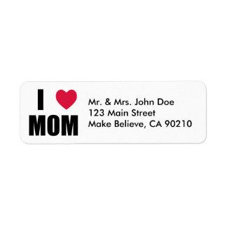 私はお母さん-赤いハート-を黒い文字愛します ラベル