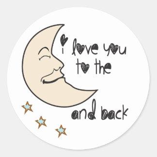 私はお洒落な月および背部に愛します ラウンドシール