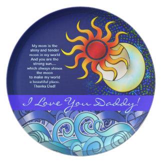 私はお父さんのテンプレートの太陽及び月のプレート愛します プレート