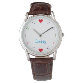 私はお父さんのパパのカスタムな父の日のメンズウォッチ愛します 腕時計