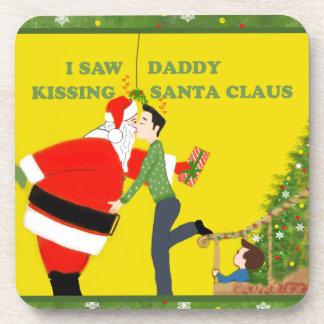 私はお父さんの接吻のサンタクロースのゲイのクリスマスを見ました コースター
