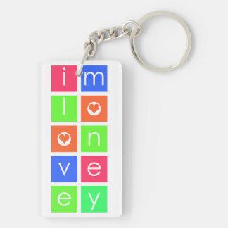 私はお金の長方形Keychain (、A)を両面愛します キーホルダー