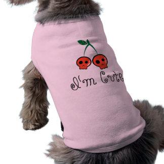 私はかわいいさくらんぼのスカル犬のTシャツです ペット服