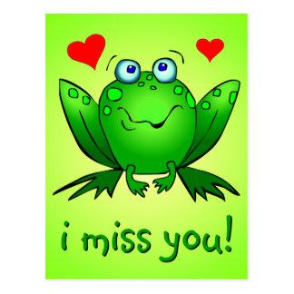 私はかわいい緑カエルのハートを恋しく思います ポストカード