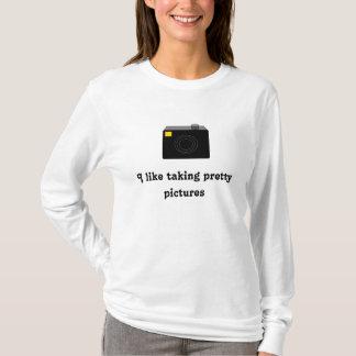 私はかわいらしい写真のカメラのワイシャツを取ることを好みます Tシャツ