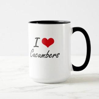 私はきゅうりの芸術的なデザインを愛します マグカップ
