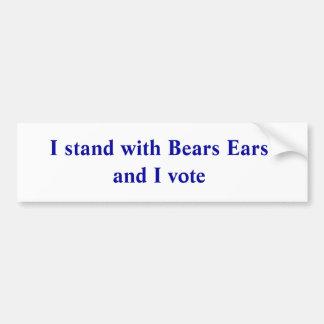私はくまの耳によって立ち、投票します バンパーステッカー