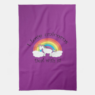 私はそれをユニコーンを取扱います紫色の背景を愛します キッチンタオル