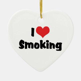 私はたばこを吸うハートを-タバコの喫煙者愛します セラミックオーナメント