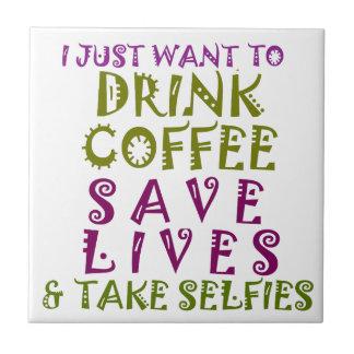 私はちょうどコーヒーを飲み及びselfiesを取りたいと思います タイル