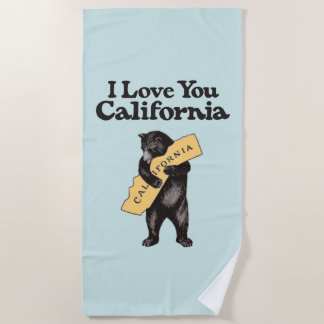 私はのカリフォルニアヴィンテージのイラストレーション愛します ビーチタオル