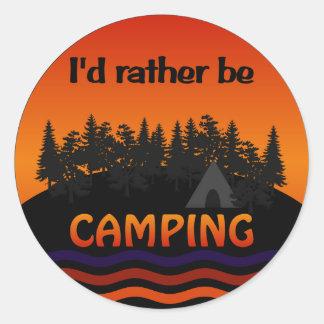 私はむしろキャンプのステッカーです ラウンドシール
