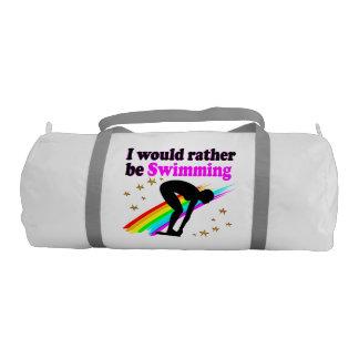私はむしろピンクの虹のデザインを泳いでいました ジムバッグ