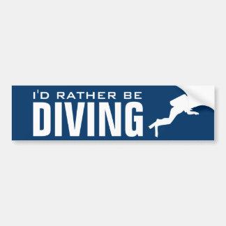 私はむしろ潜水の|のスキューバダイバーのバンパーステッカーです バンパーステッカー