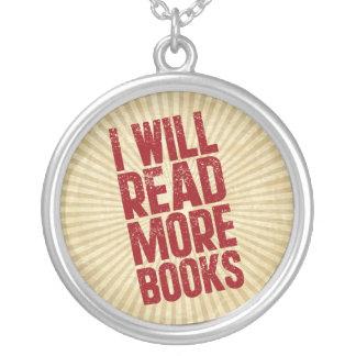私はより多くの本を読みます シルバープレートネックレス