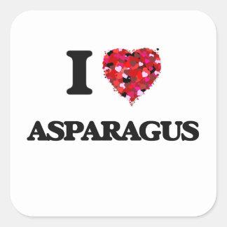 私はアスパラガスの食糧デザインを愛します 正方形シール
