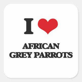 私はアフリカ灰色のオウムを愛します スクエアシール