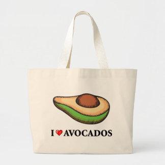 私はアボカドを愛します ラージトートバッグ