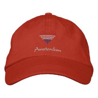 私はアムステルダムの帽子-オランダの旗の帽子--を愛します 刺繍入りキャップ