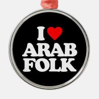私はアラビアのフォークを愛します シルバーカラー丸型オーナメント