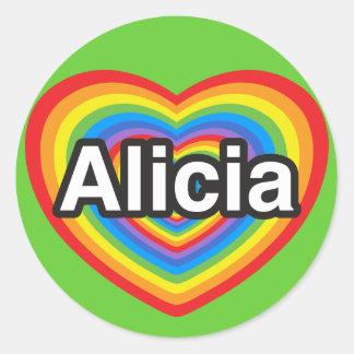 私はアリシアを愛します。 私はアリシア愛します。 ハート ラウンドシール