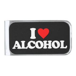 私はアルコールを愛します シルバー マネークリップ