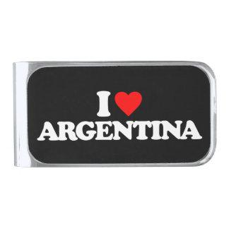 私はアルゼンチンを愛します シルバー マネークリップ