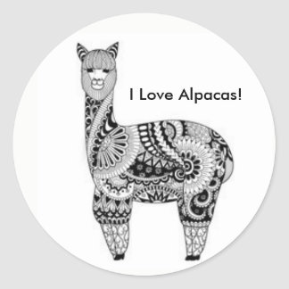 """""""私はアルパカを愛します! """"ステッカー ラウンドシール"""