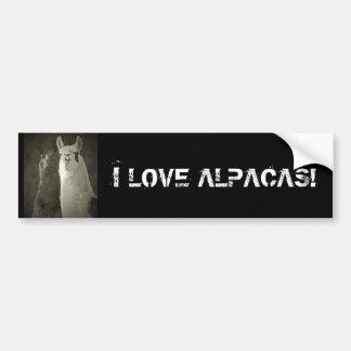 私はアルパカを愛します! バンパーステッカー