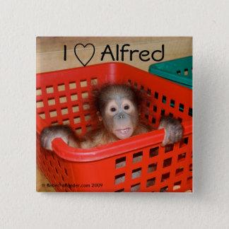 私はアルフレッドをオランウータンのベビー愛します 5.1CM 正方形バッジ