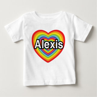 私はアレキシスの虹のハートを愛します ベビーTシャツ