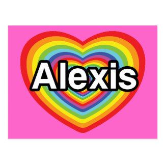 私はアレキシスの虹のハートを愛します ポストカード