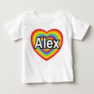 私はアレックスの虹のハートを愛します ベビーTシャツ