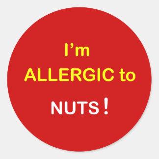 私はアレルギー-ナットです ラウンドシール