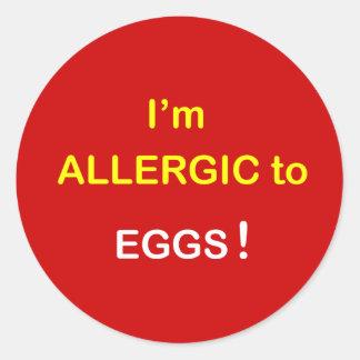 私はアレルギー-卵です ラウンドシール